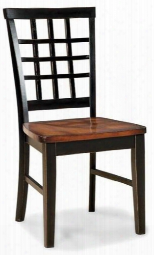 """Arlington Ar-ch-185-blj-rta 36.8"""" Dining Room Lattice Back Side Chair With Distressed Detail Stretchers And Tapered Legs In Black Java"""
