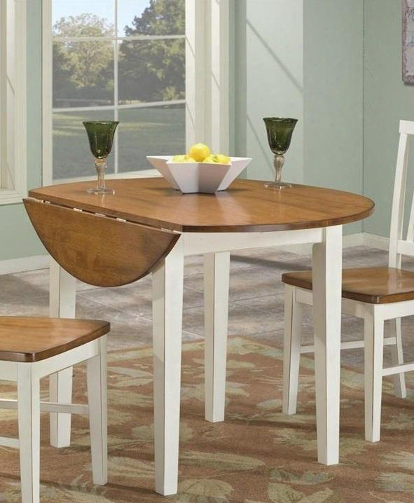 """Arlington Ar-ta-4242d-whj-c 42"""" Dining Room Drop Leaf Table With 2 Leaves Apron Distressed Detailing And Tapered Legs In White"""