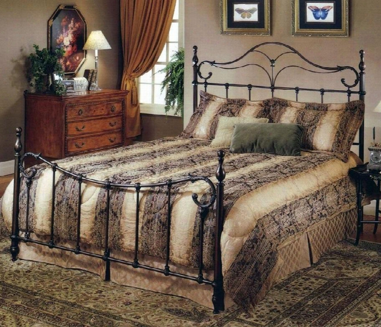 Bennett 1249bkr King Sized Bed With Headboard Footboard And Frame Elongated Finials And Cast Metal Construction In Antique Bronze