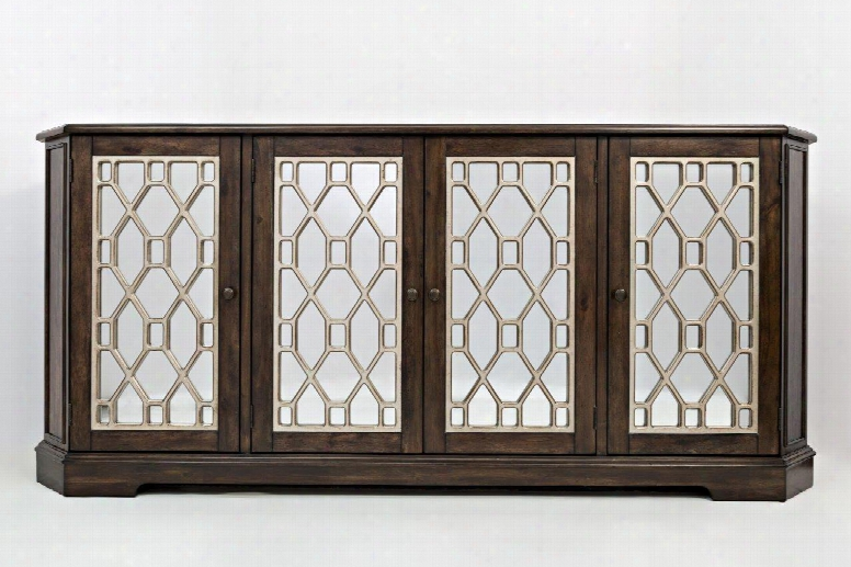 "Casa Bella 1560-78 78"" Mirrored Console With Adjustable Shelves And Wire Management System In Chestnut With Vvintage"