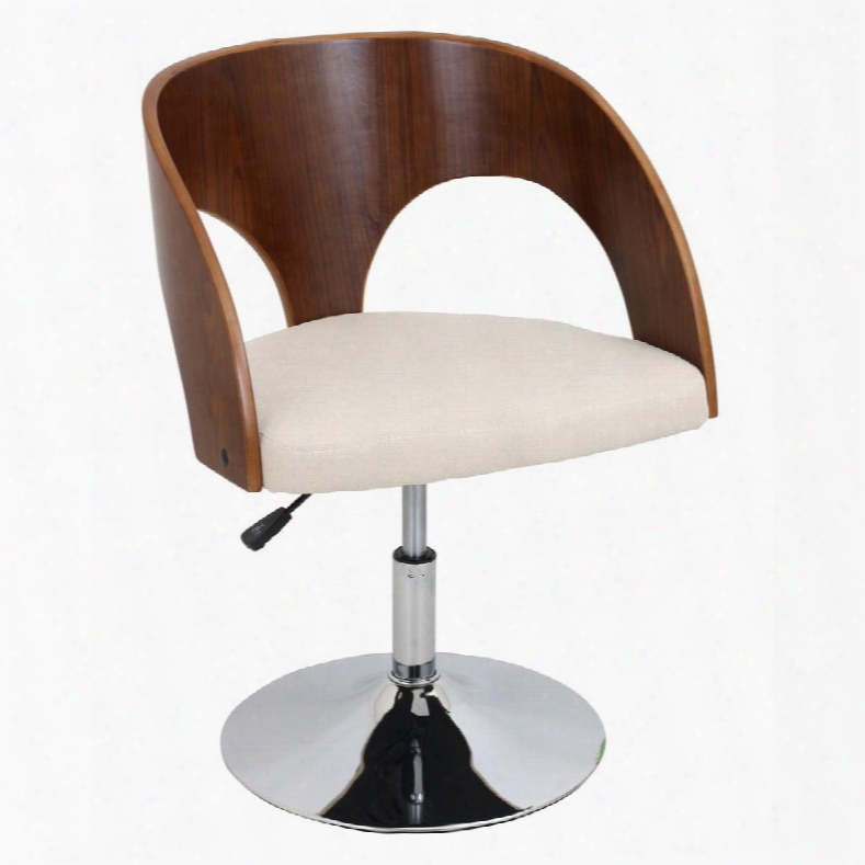 Ch-jy-ava Wl+cr Ava Height Adjustable Chair With Swivel In Walnut And