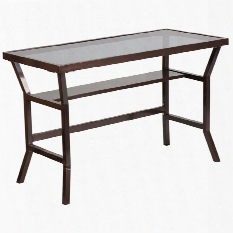 """Nan-ylcd1237-gg 29.75"""" Contemporary Desk With 7mm Tempered Glass Top Plastic Floor Glides Supportive Braces And Powder Coated Frame In Dark Grey"""