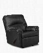 "U278-19 WINDSORBLACK 37"" Windsor Bonded Leather Rocker Recliner with Stitched Detailing Plush Padded Arms and Split Back Cushion in"
