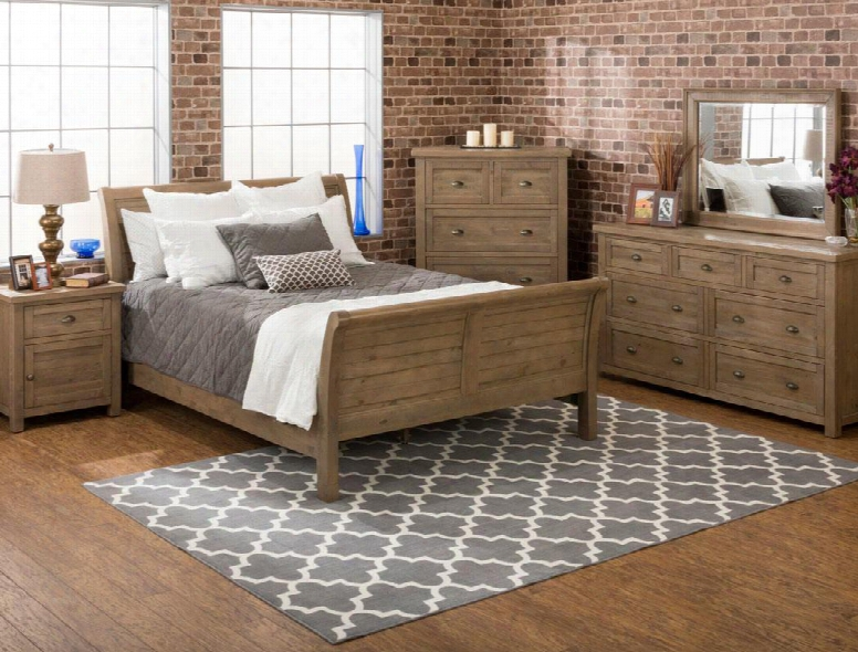 Slater Mill Collection 943qsbdmnc 5-piece Bedroom Set With Queen Bed Dresser Mirror Nightstand And Chest In Medium