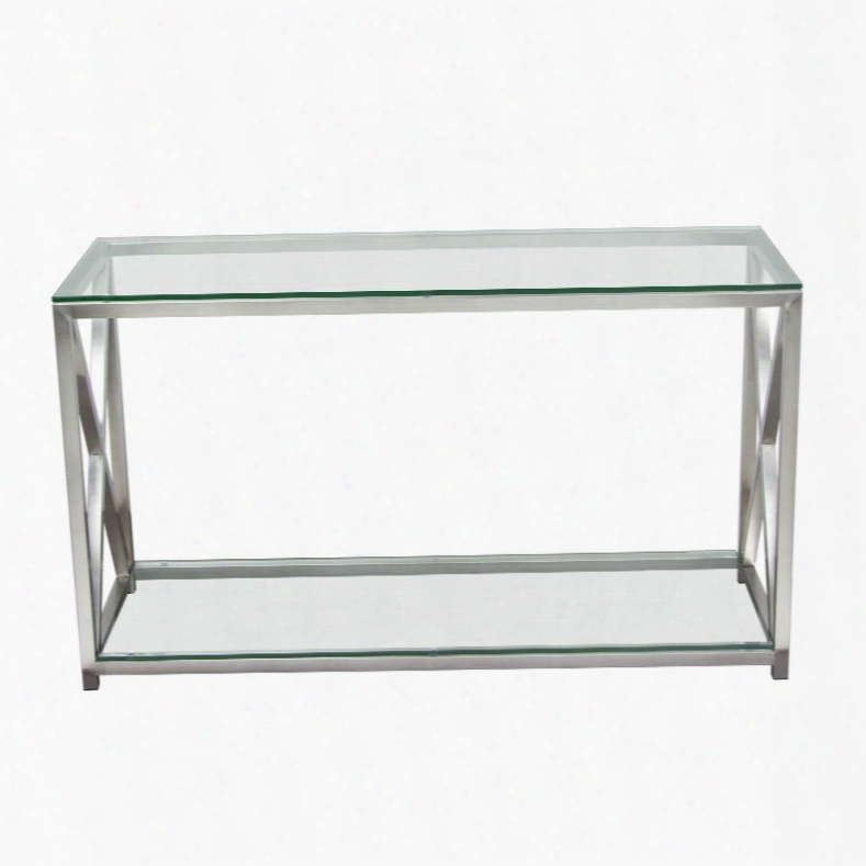 "X-factor Xfactorcs 47"" Console Table With Lear Glass Head & Shelf And Brushed Stainless Steel"