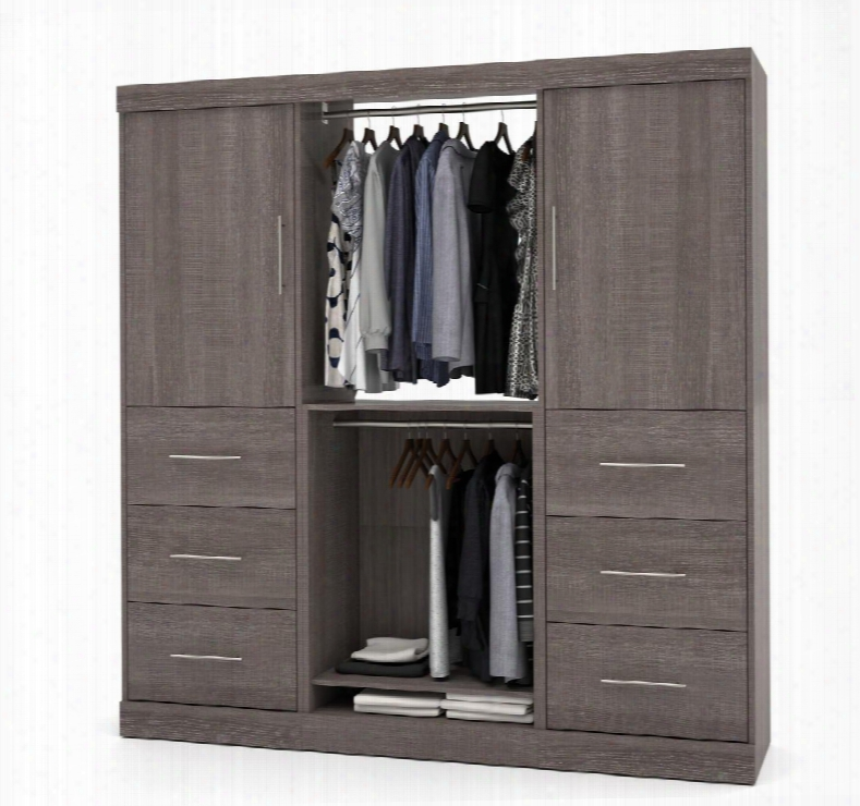 "25854-47 Nebula 80"" Storage Kit Including Six Drawers With Simple Pulls And Molding Detail In Bark"