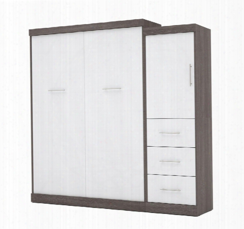 """25882-4717 Nebula 90"""" Queen Wall Bed Kit Including One Door And Three Drawers With Simple Pulls In Bark Grey And"""
