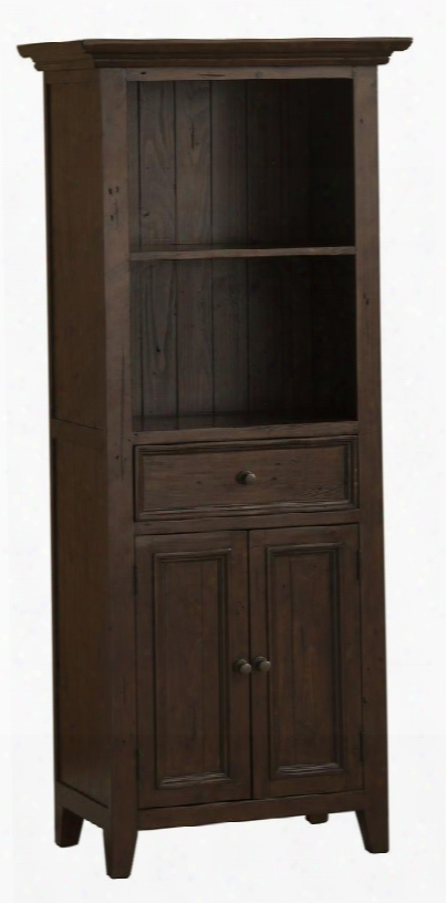 """4793-903w Tuscan Retreat 72"""" High Open Top Display Cabinet With 1 Drawer 2 Open Shelves 2 Doors And Solid Pine Timber Construction In Rustic Mahogany"""