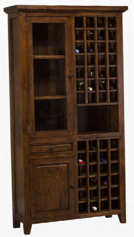 """5225-949w Tuscan Retreat 83"""" Tall Wine Storage With 52 Bottle Storage 2 Doors 1 Pull Out Tray And Reclaimed Timber Connstruction In Oxford Antique Pine"""