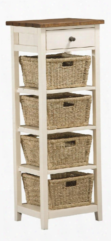 """5465942w Tuscan Retreat 53"""" High Open Side Stand With 4 Baskets 1 Drawer Tapered Legs And Solid Pine Timber Construction In Country White And Antique Pine"""