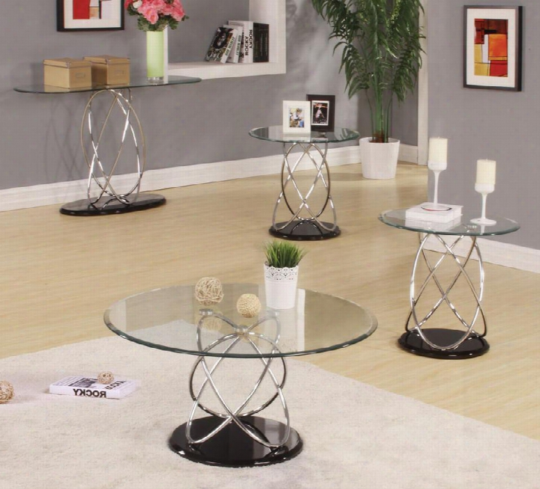 80795cs2e Deron 4 Piece Table Sets With Coffee Table Sofa Table And 2 End Tablles With 8mm Tempered Round Clear Glass Top High Gloss Black Mdf Base And Chrome