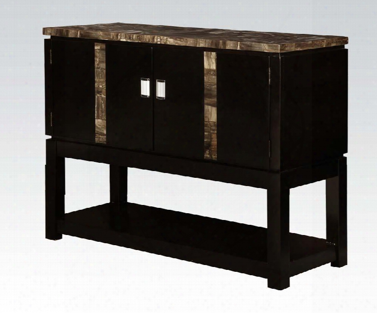 """Amelia Collectiion 71243 48"""" Server With 2 Doors Faux Marble Top Metal Hardware And Bottom Shelf In Espresso"""