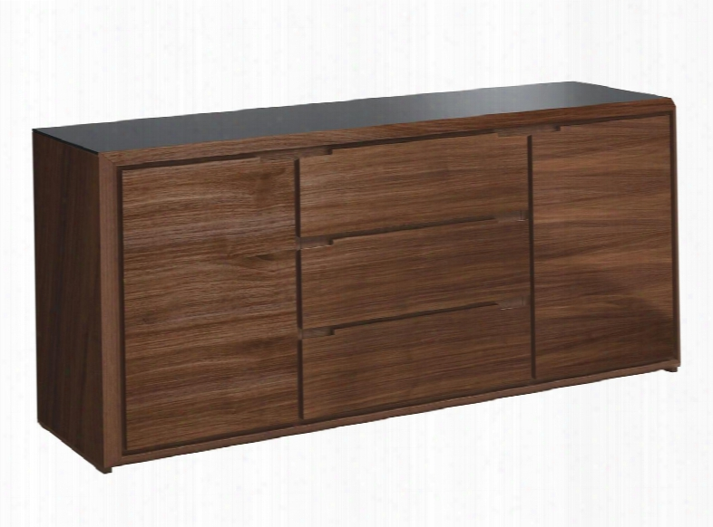 Arc.m.180.ncn.vgt Arc Sidwboard Ith 3 Mdf Drawers 2 Mdf Doors Tempered Transparent Glass Shelf And Tempered Glass Top In Walnut
