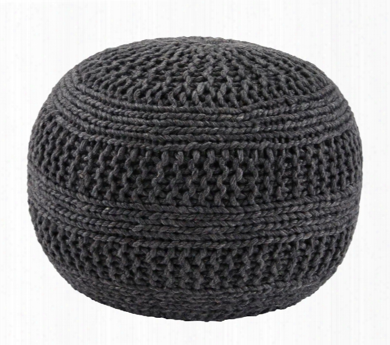 """Benedict A1000559 14"""" Pouf Ottoman With Rib Knit Texture Esp Beads And Made Of Wool In"""