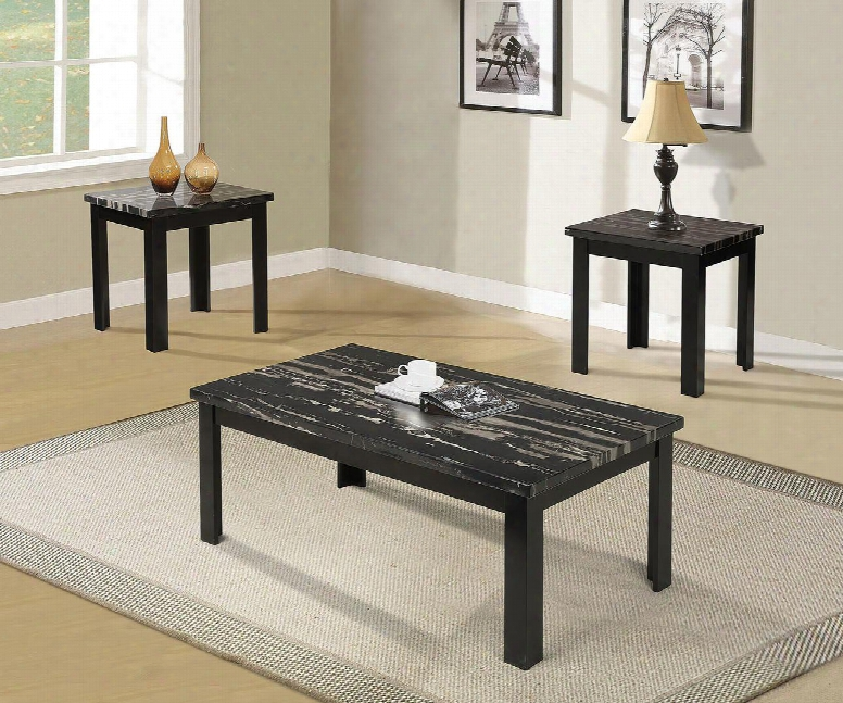 Blythe Collection 80855 3 Pc Living Room Table Set With Faux Marble Top And Medium-density Fiberboard (mdf) In Black