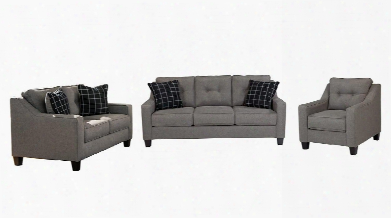 Brindon 53901-39-35-20 3-piece Living Room Set With Queen Sofa Sleeper Loveseat And Armchair In Charcoal