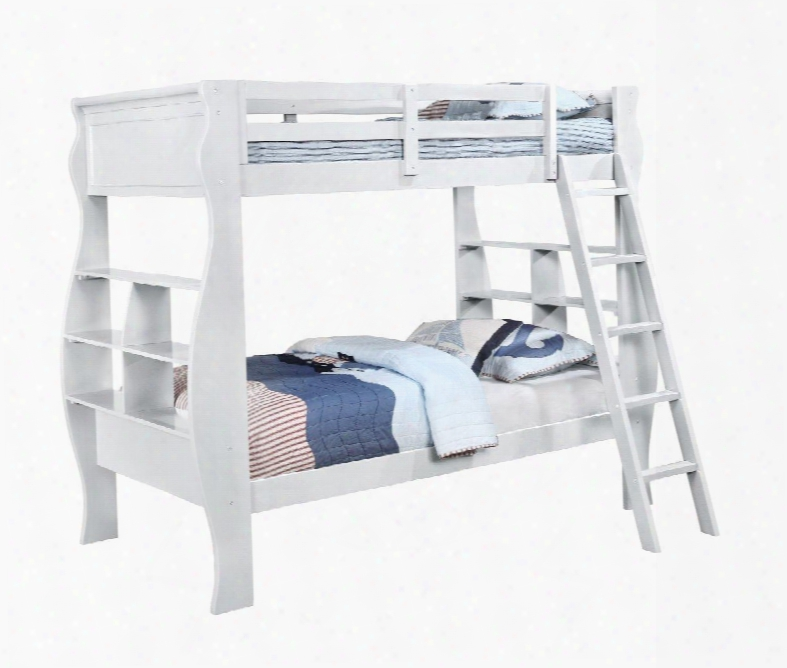 Casey 14y8100bbw 72&quor; Twin Over Twin Bunk Bed With Twin Sleep Surfaces And Storage Shelves In White