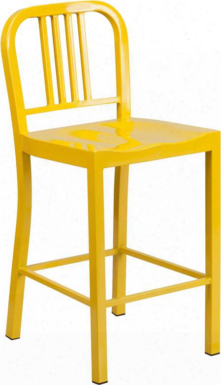 "Ch-31220-024-yl-gg 24"" Counter Height Bar Stool With Vertical Slat Back Protective Plastic Floor Glides Footrest And Powder Coat Finish In"