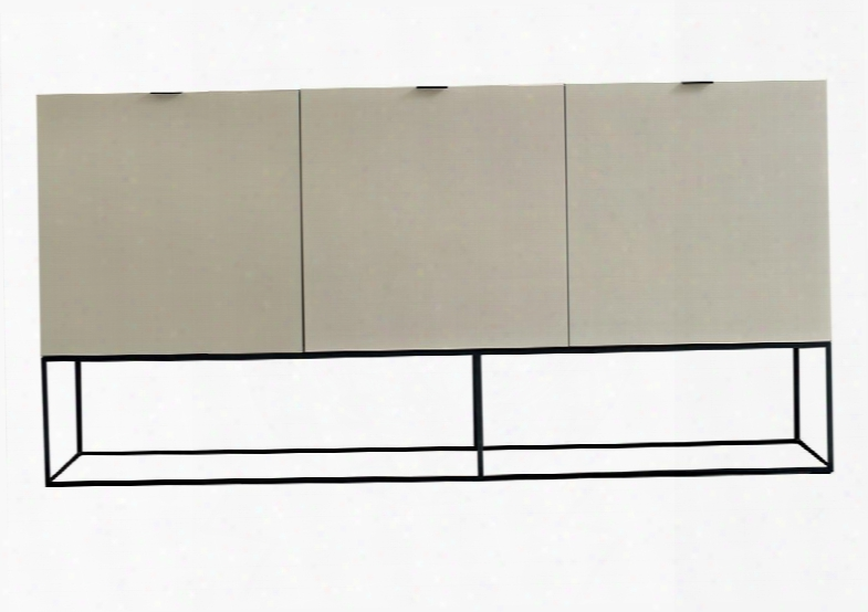 Cp1411e-p04-ss4-mp Luna Sideboard With 3 Doors Black Metal Coating Legs And Soft Closing Hinges In High Gloss Avorio