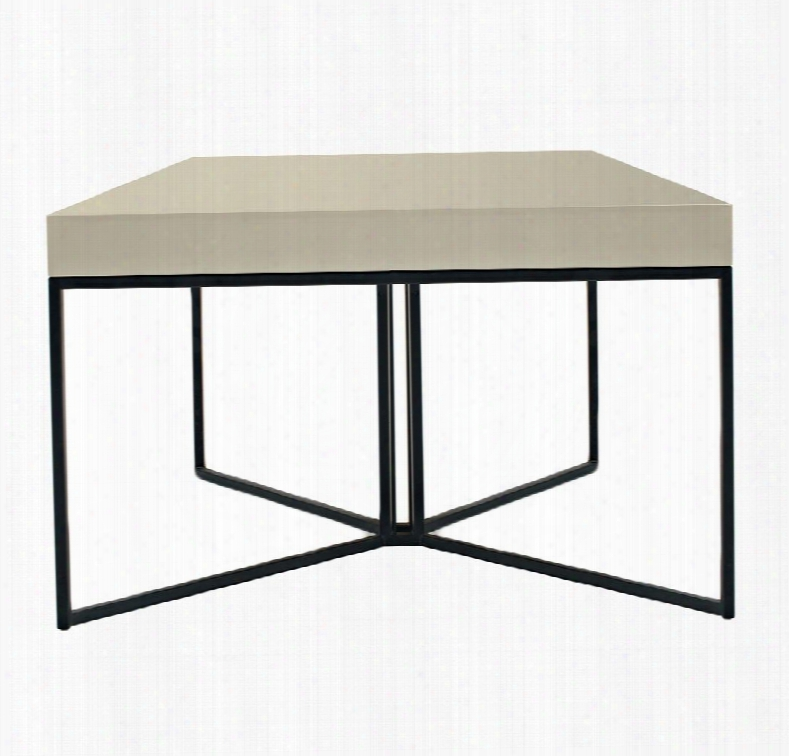 Cp1411g-p04-ss4-mp Luna Coffee Table With Black Steel Frame And Metal Coating Legs In High Gloss Avorio