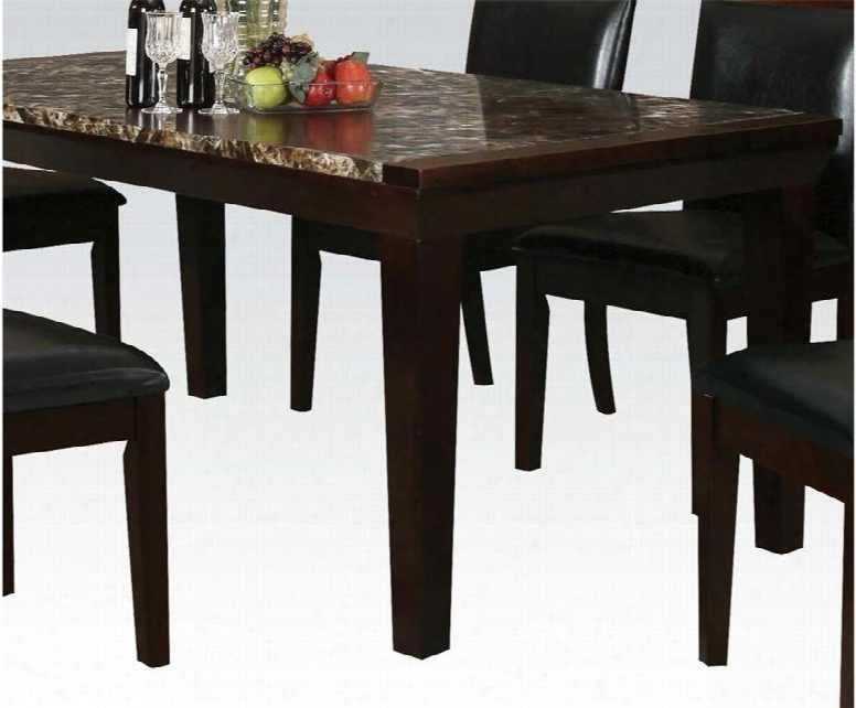 """Denzil Collection 70786 72"""" Dining Table With Faux Marble Top Tapered Legs Aprno And Woood Construction In Espresso"""