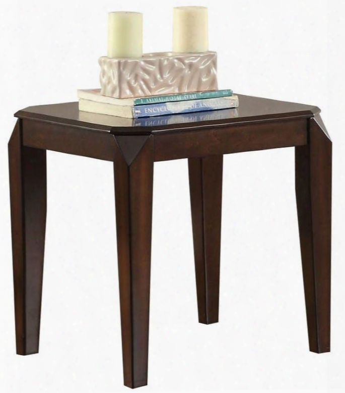 """Docila Collection 80662 23"""" End Table With Tapered Legs Poplar Wood And Basswood Veneer In Walnut"""