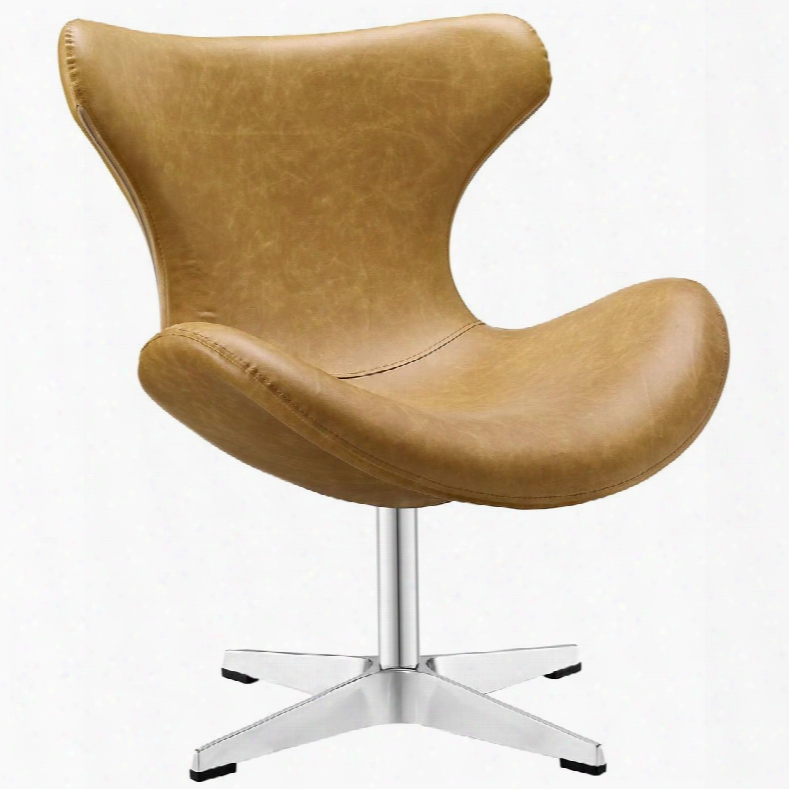 Eei-1804-tan Helm Vinyl Lounge Chair In
