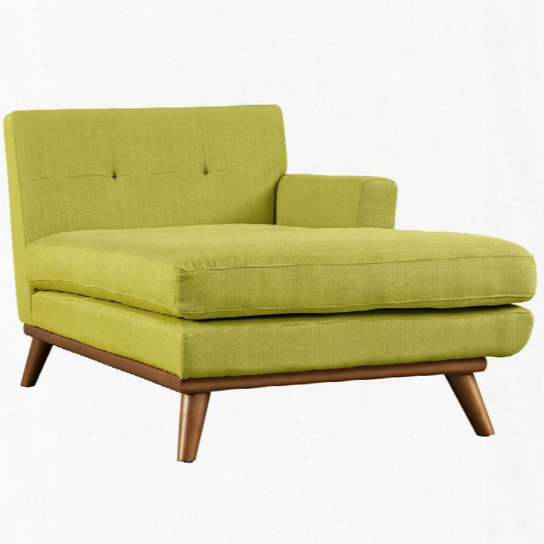 """Engage Collection Eei-1794-whe 69.5"""" Right Arm Chaise With Tufted Back Plastic Foot Glides Cherry Stained Rubberwood Legs And Fabric Upholstery In Wheatgrass"""