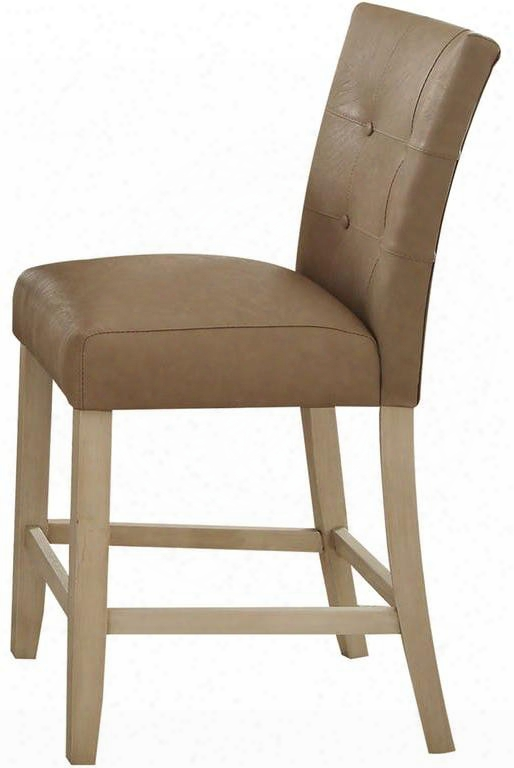"""Faymoor Collection 71762 Set Of 2 24"""" Counter Height Chairs With Antique White Tapered Legs Solid Wood Construction And Pu Leather Upholstery In Cream"""