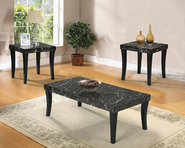 Gale Collection 80366 3 Pcliving Room Table Set With Coffee Table 2 End Tables Faux Marble Top And Tapered Legs In Black