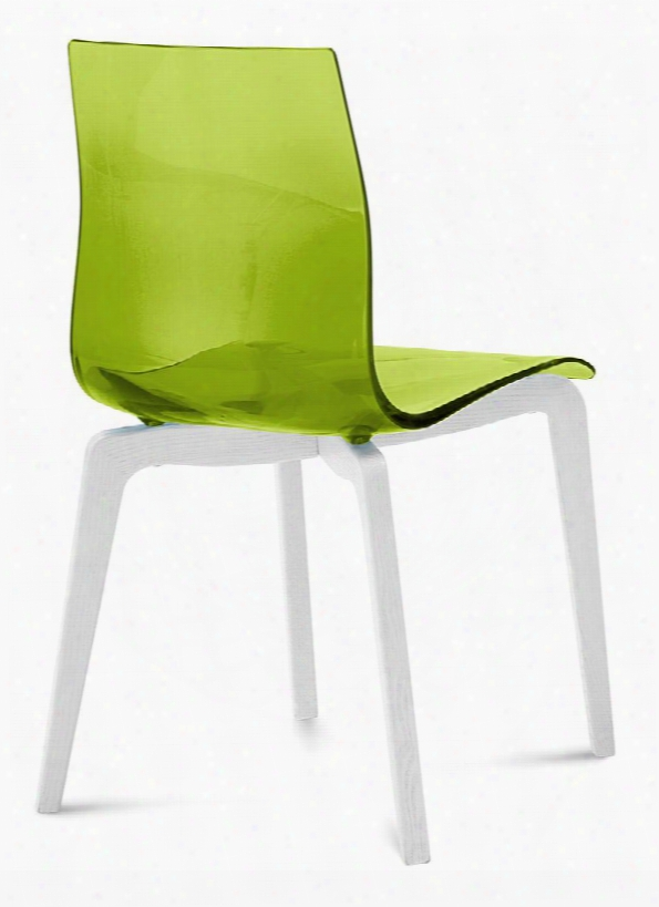 Gel.s.lsf.lbos.sve Gel Dining Room Chair With White Mat Lacquered Ashwood Frame Tapered Legs And Acryl Nitrile Styrene Shell In Transparent Green