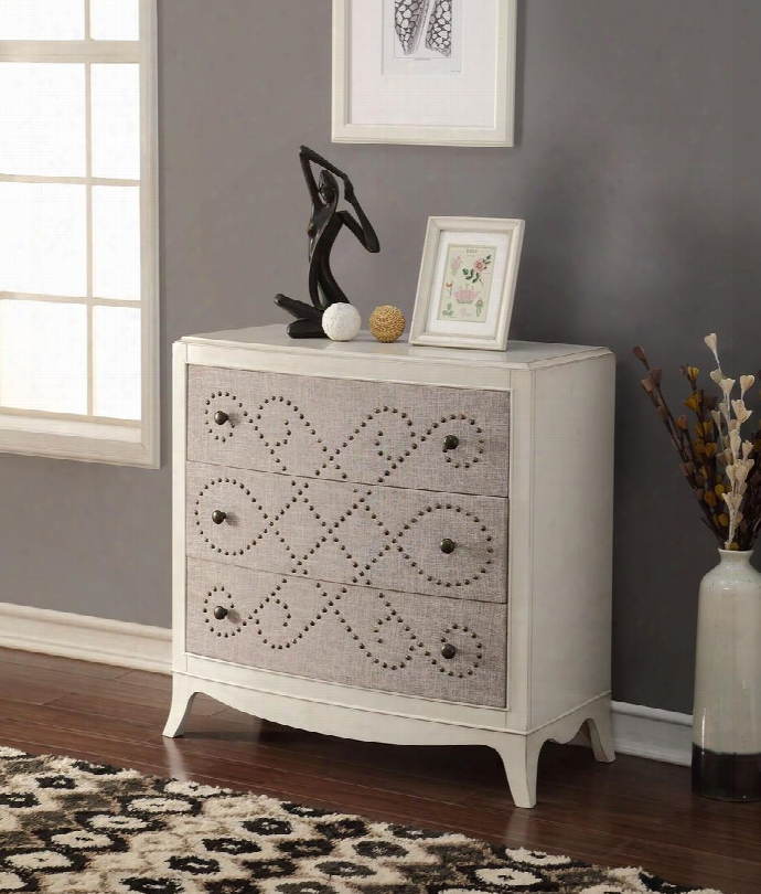 """Glejery Collection 90194 37"""" Console Table With 3 Fabric Covered Drawers Nail Headp Attern Metal Knobs Curved Front And Maple Veneer Materials In Light"""