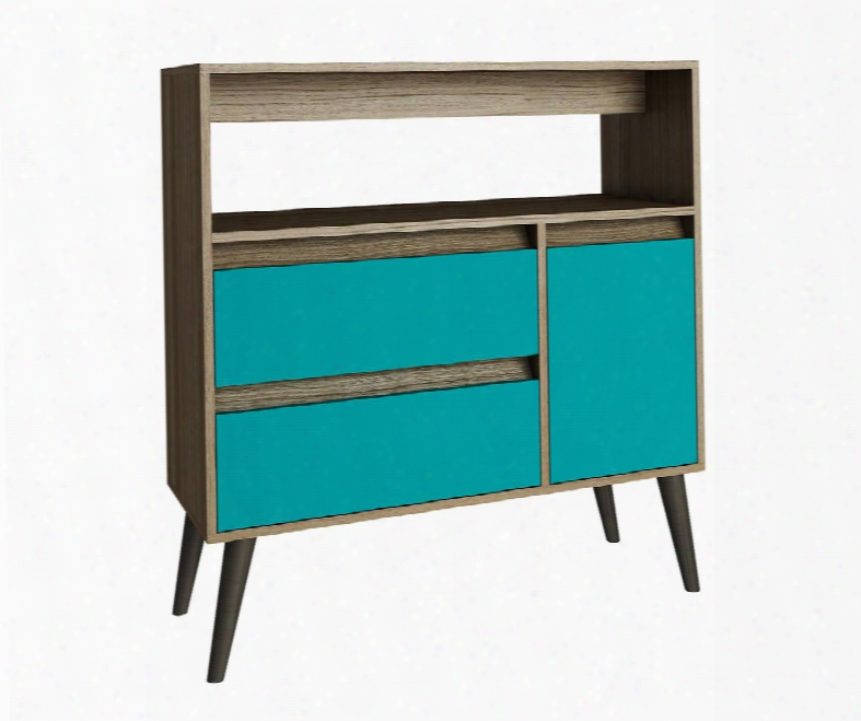 """Gota Collection 5amc134 35"""" 2-drawer High Side Table With 1 Door 1 Spacious Sh Elf And Splayed Legs In Oak And"""