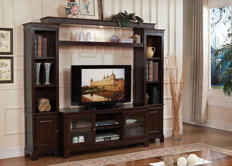 Halden Collection 91090ent 4-piece Entertainment Center With Tv Stand Left Pier Right Pier And Bridge With Shelf In