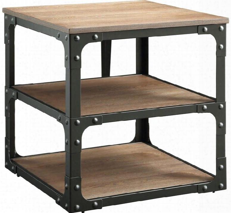 "Kenton Collection 80451 24"" End Table With 2 Shelves Black Metal Frame Square Shape And Medium-density Fiberboard (mdf) In Oak And Black"