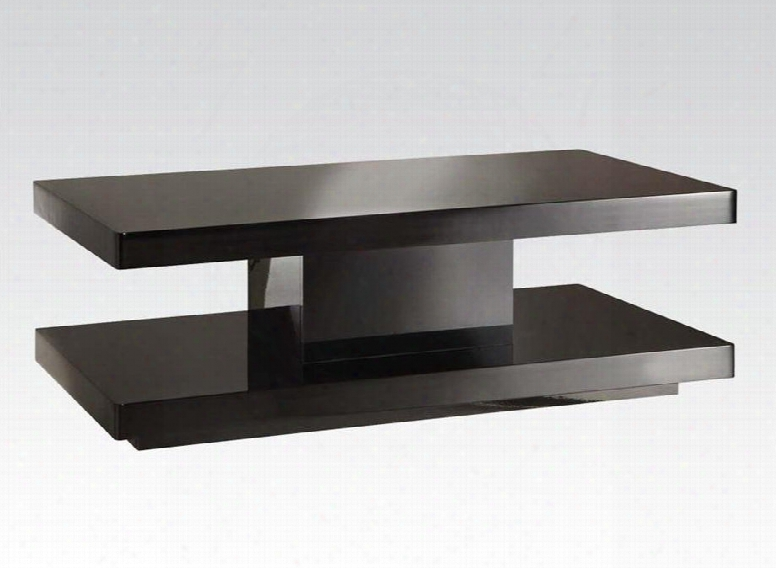 "Koren Collection 80726 48"" Coffee Table With Rectangular Shape Medium-density Fiberboard (mdf) And Veneer Materials In Black"
