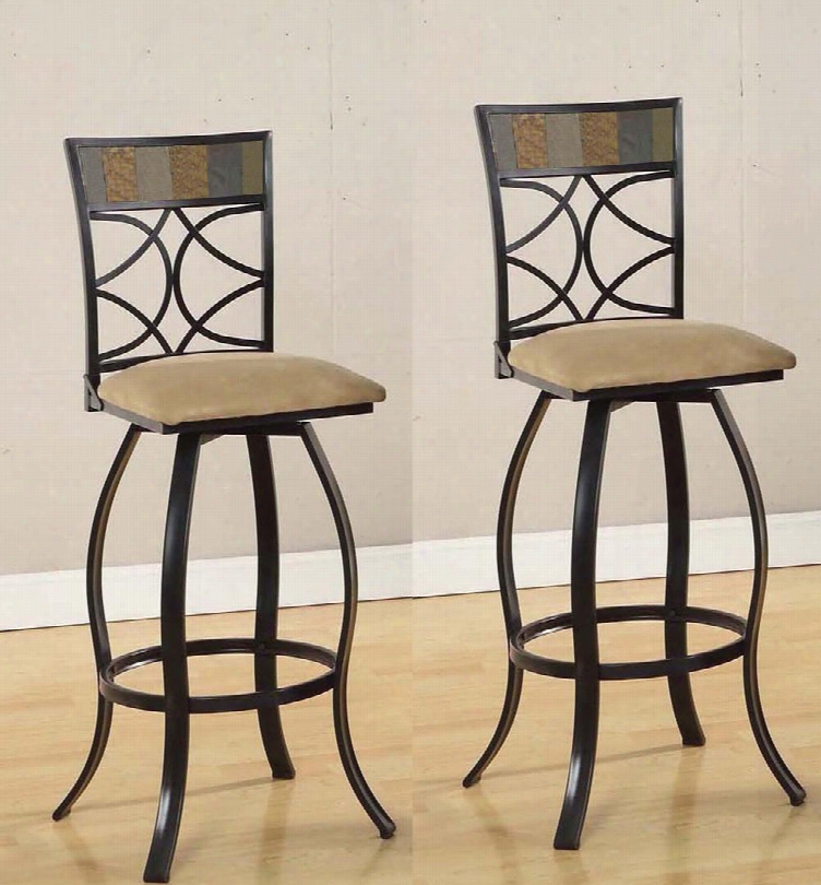 """Pansy Collection 72662 45"""" Set Of 2 Bar Chairs With Swivel Function Curved Flared Legs Stone Inlay Beige Fabric Cushion And Metal Co Nstruction In Black"""
