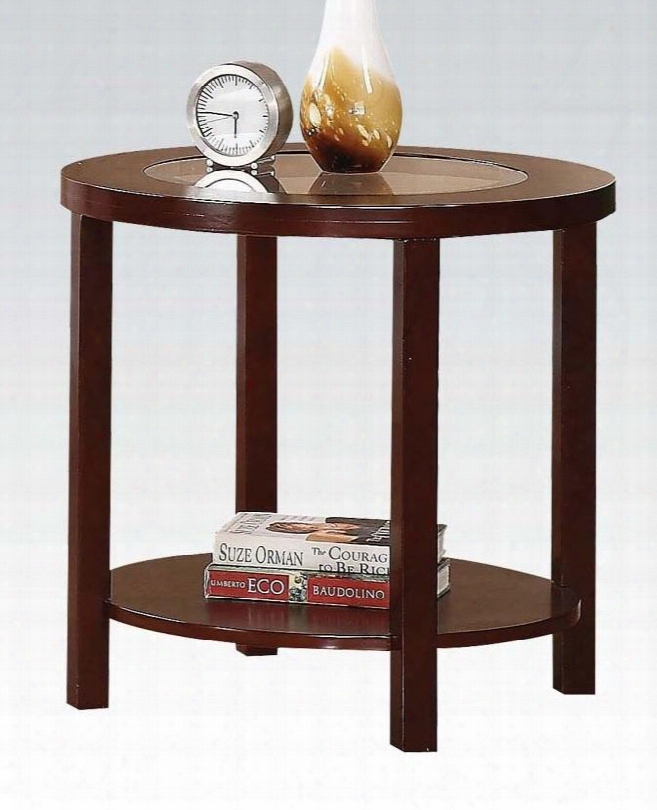 """Patia Collection 80189 24"""" End Table With 5mm Tempered Glass Top Insert Bottom Shelf Solid Wood Ring Trim And Poplar Wood Construction In Espresso"""