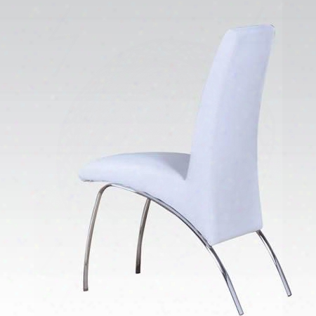 "Pervis Collection 71107 19"" Side Chair With Pu Leather Upholstered Seat And Back And Polished Metal Legs In White"