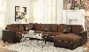 560002PC Dannis 2 PC Living Room Set with Sectional Sofa Set and Coffee Table in Chocolate
