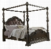 694160178 Cortina California King Size Panel Bed with Bolt-On Bedrail Upholstered Head Panel Carved Detailing and Canopy in Brown