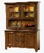 Attic Heirlooms 5399-65V-66 Wide China Cabinet with Base and Hutch in Rustic Oak