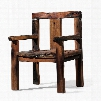 DS-A06 Abydos Arm Chair with Block Feet and Distressed Detailing in Rustic