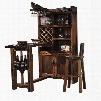 DS-B0110 Satyr Bar Table with 2 Barstools 4 Shelves 2 Cabinet Doors Stemware Rack and Wine Rack in Brown
