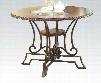 """Jaimey Collection 71410 44"""" Dining Table with Clear Glass Intert Round Shape Scrollwork and Metal Construction in Oak and Antique Black"""