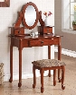 "Jonas 90155 32"" Vanity Set with 3 Drawers Mirror Cushioned Stool Cabriole Legs and Decorative Hardware in Cherry"