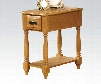"""Qrabard Collection 80510 12"""" Side Table with 1 Drawer Bottom Shelf Turned Legs Polished Brass Hardware Rubberwood and Ash Veneer Materials in Light Oak"""