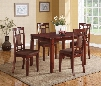 Sonata Collection 71164 5 PC Dining Room Set with Chocolate Microfiber Upholstered Chairs Tapered Legs Birch Veneer Materials and Medium-Density Fiberboard