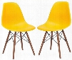 """Vortex Collection EM-105-WAL-YEL-X2 21"""" Set of 2 Side Chairs with Plastic Non-Marking Feet Walnut Finish Tapered Legs and Polypropylene Plastic Seat in Yellow"""