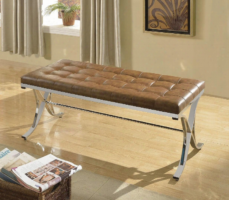 """Royce 96414 48"""" Bench With Button Tufted Seat Chrome Frame And Pu Leather Upholstery In Brown"""